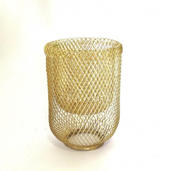 Teelichthalter Metall Gold Gitter 15 cm